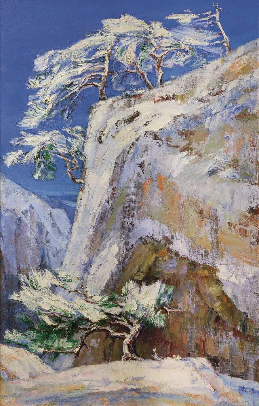 詹建俊《雪山松》 195x125cm 1998年 布面油画