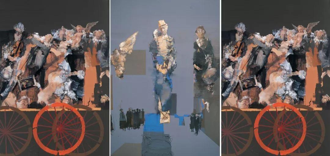 俞晓夫-《巴黎艺术大逃亡.之卢浮宫.之蓬皮杜.之奥赛》198X138cm 2008年 布面油画