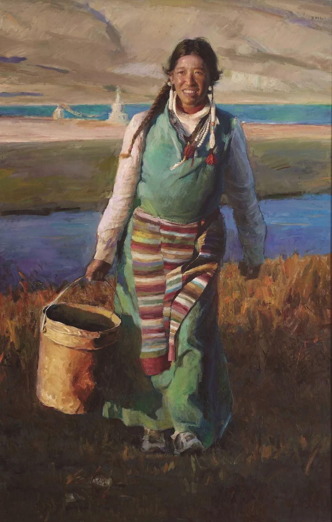 韩玉臣 2011年《圣湖桑珠》油画 180cmx115cm