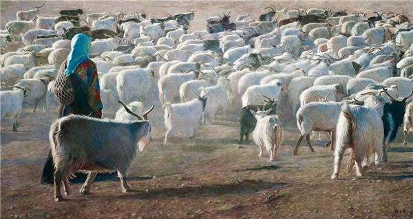 韩玉臣 《牧羊女》 170cm×320cm